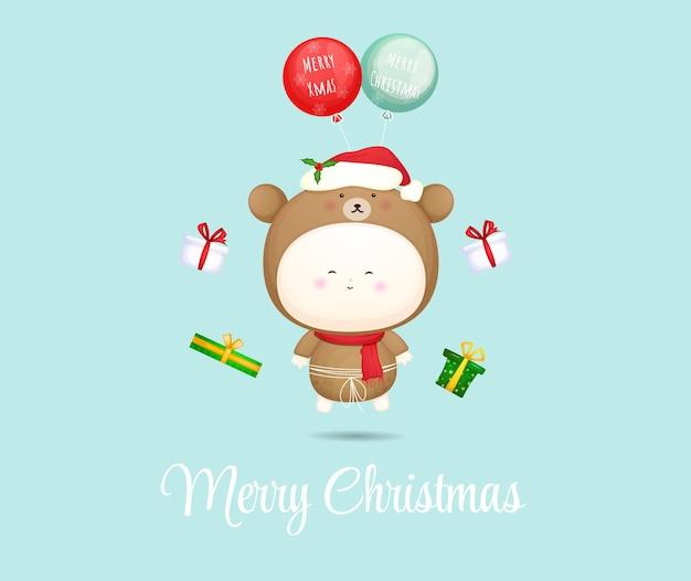 Милый ребенок летит с воздушным шаром для счастливой рождественской иллюстрации premium векторы