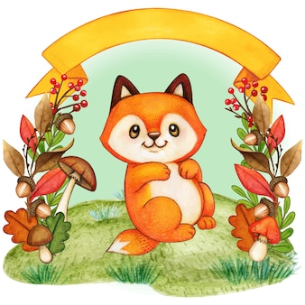 Cute baby fox in an autumn foliage background with bow banner