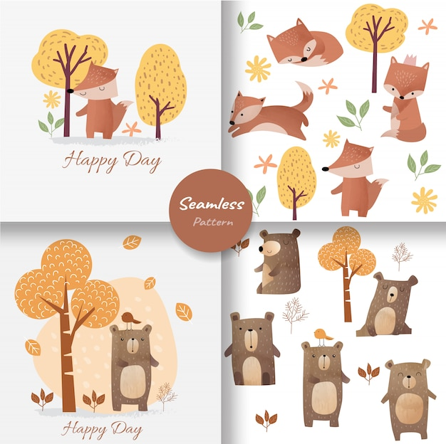 Cute baby fox and bear seamless pattern