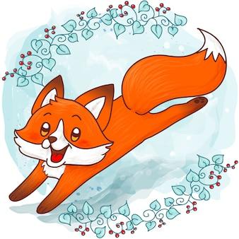 Милая лиса прыгает на зимней акварели