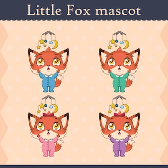 Cute baby fox mascot set - distracted pose