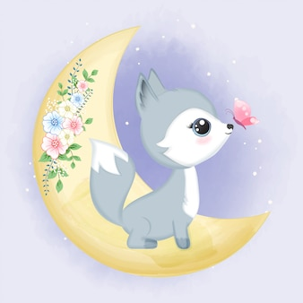 Cute baby fox on the moon with butterfly