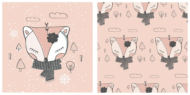かわいい赤ちゃんキツネシームレスパターン漫画手描きベクトルイラスト