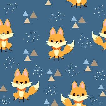 Cute baby fox seamless pattern
