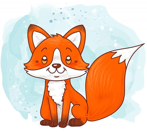 Милая лиса сидит на зимней акварели