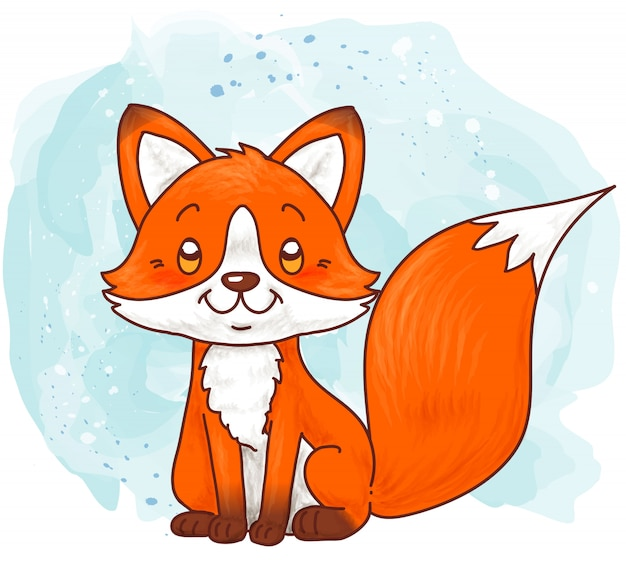 Cute baby fox sitting on a winter watercolor