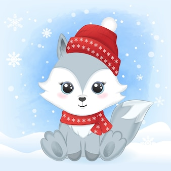 Cute baby fox and snow winter background