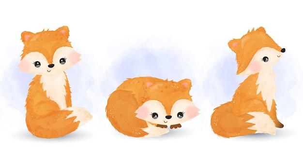 かわいい赤ちゃんキツネの水彩イラスト。