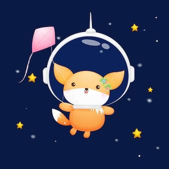 宇宙飛行士のヘルメットをかぶったかわいい赤ちゃんキツネ動物漫画