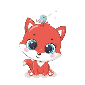 Cute baby fox with bird.  illustration for baby shower, greeting card, party invitation, fashion clothes t-shirt print.
