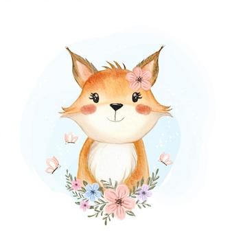 花と蝶の水彩イラストとかわいい赤ちゃんキツネ