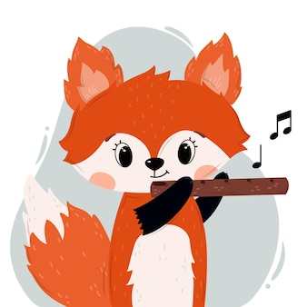 Cute baby fox with flute for nursery posters