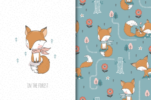 Cute baby fox with scarf, cartoon forest animal character. illustration and pattern set