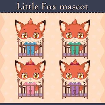 Набор талисмана cute baby fox - в кроватке