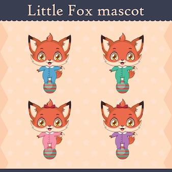 Набор талисмана cute baby fox - балансирующая поза