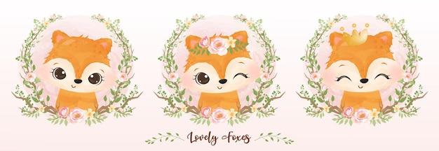 수채화에 귀여운 아기 여우 컬렉션 세트