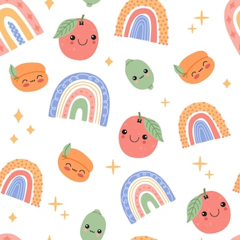 Cute baby fruits and rainbows with smiling face cartoon seamless pattern.