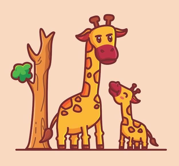 귀여운 아기 기린과 그의 엄마. 만화 동물 자연 개념 격리 된 그림입니다. 스티커 아이콘 디자인 프리미엄 로고 벡터에 적합한 플랫 스타일. 마스코트 캐릭터