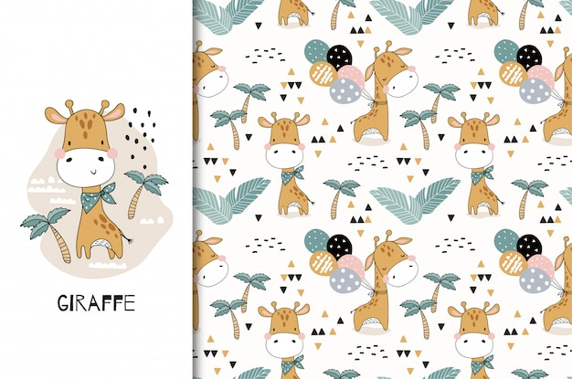 Cute baby giraffe animal character. card and seamless pattern set. hand drawn textile design illustration