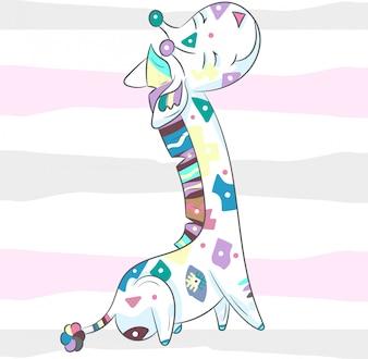 Cute baby giraffe boho cartoon hand drawn