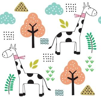 Cute baby giraffe cartoon seamless pattern