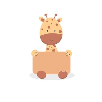Cute baby giraffe cartoon sit