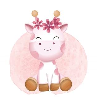 かわいい赤ちゃんキリン漫画水彩風