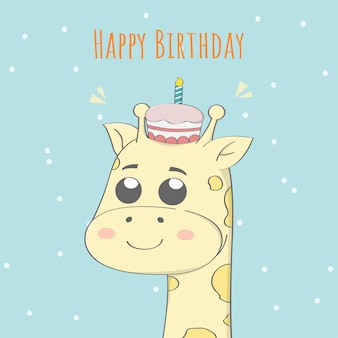귀여운 아기 기린 생일 축하합니다