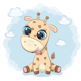 Cute baby giraffe.  illustration for baby shower, greeting card, party invitation, fashion clothes t-shirt print.