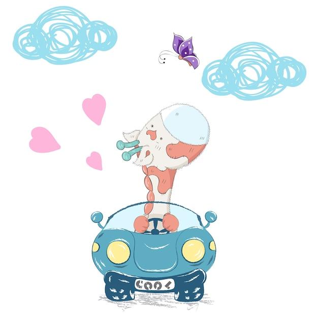 かわいい赤ちゃんキリンは、漫画の手描きの車に乗る