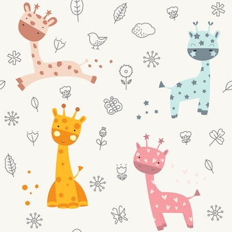 Cute baby giraffe seamless pattern