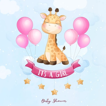 Cute baby giraffe sitting in the cloud with watercolor illustration