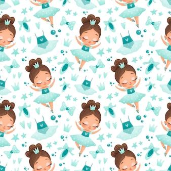 귀여운 아기 소녀 아프리카 계 미국인 발레리 나 완벽 한 패턴입니다. 검은 피부 발레리나. 발레 패턴.