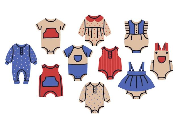 귀여운 아기 소녀와 소년 옷 장난 꾸러기 아이 bodysuits 만화 벡터 컬렉션