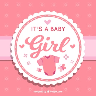 Cute baby girl background in flat style