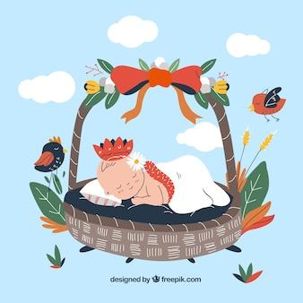 Stile disegnato della priorità bassa sveglia della neonata a disposizione