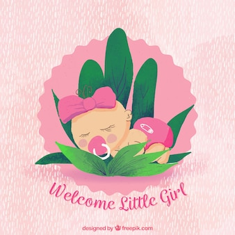 Cute baby girl background in hand drawn style