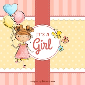 Baby girl vectors photos and psd files free download cute baby girl background in hand drawn style voltagebd Choice Image