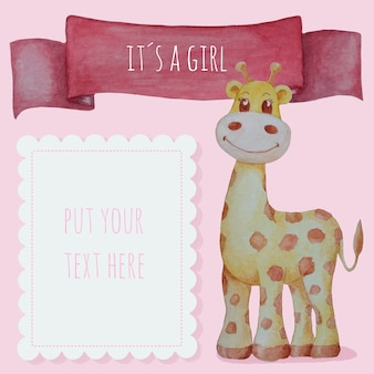 Cute baby girl background in watercolor with giraffe