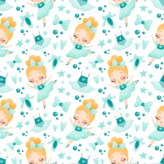 Cute baby girl ballerina seamless pattern. ballet pattern.