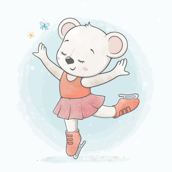 Cute baby girl bear on ice skate water color cartoon hand drawn