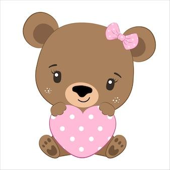 Cute baby girl bear with a heart. cartoon illustration.