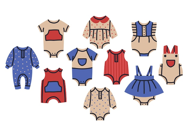 Cute baby girl and boy clothes rompers kids bodysuits cartoon vector collection