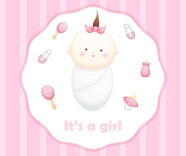 Cute baby girl card cartoon character. baby element illustration premium vector