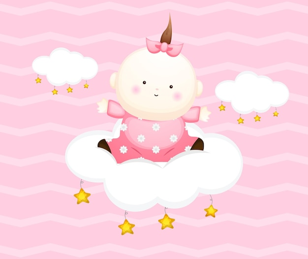 Cute baby girl card cartoon character. baby sit on the cloud illustration premium vector