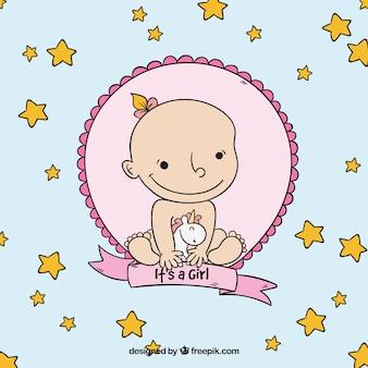 かわいい赤ちゃんの女の子カードは、手描きスタイル