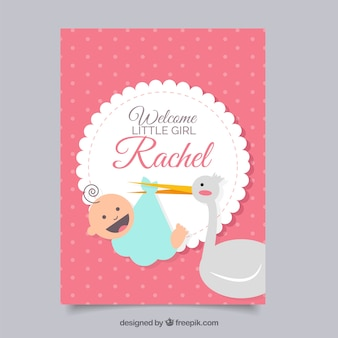 Cute baby girl card with stork
