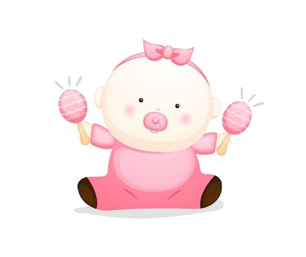 Cute baby girl cartoon character. baby concept illustration premium vector