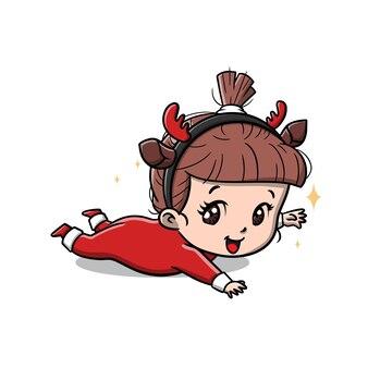 Cute baby girl on the christmas cartoon