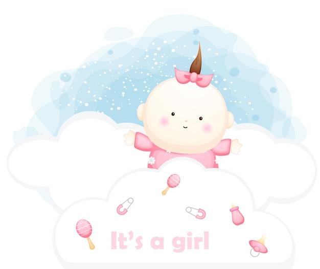 Cute baby girl behind cloud cartoon character illustration premium vector